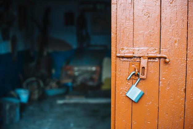 Door in front of garage