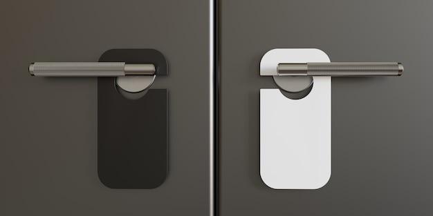 Макет дверной вешалки. черно-белые дверные вешалки на закрытую дверь. место для вашего текста. 3d иллюстрация