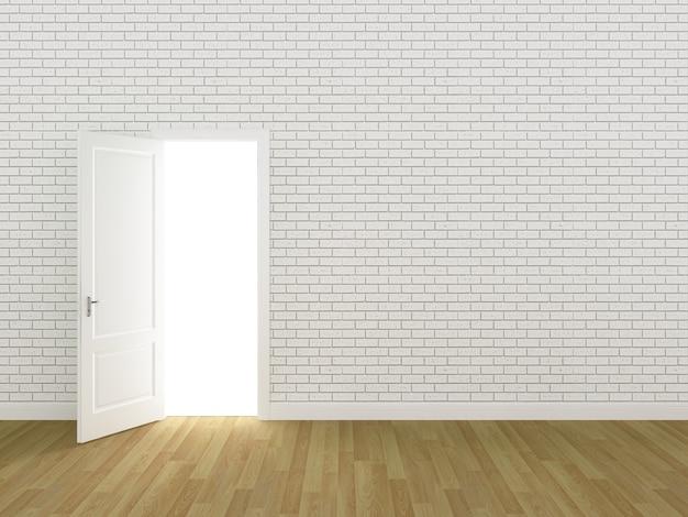Door open on brick wall 3d