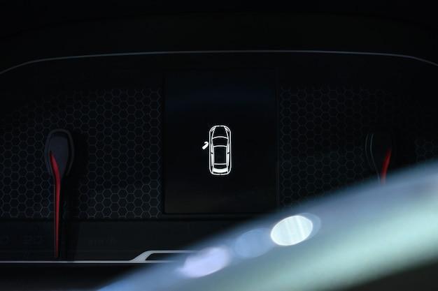 Door open warning light on car dashboard