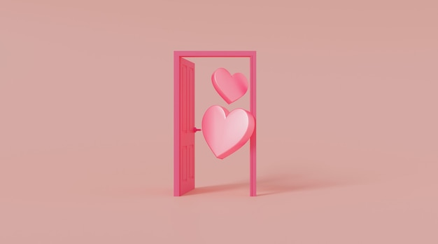 Door open with heart shape.