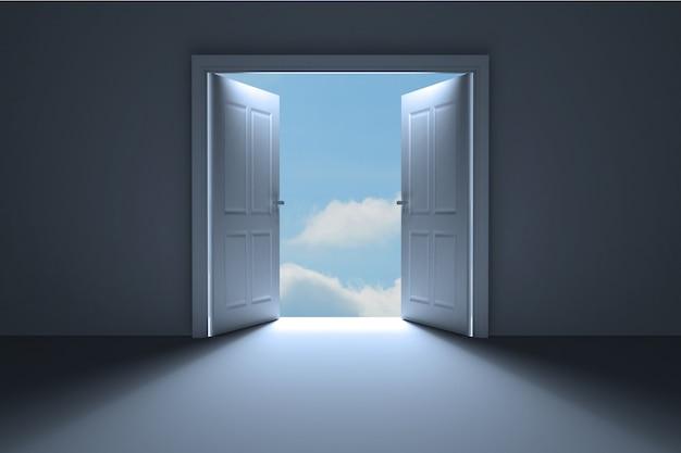 Captivating Door Opening In Dark Room To Show Sky
