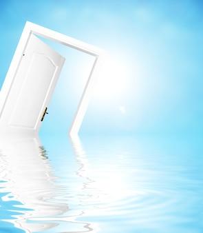 Door sinking into the sea