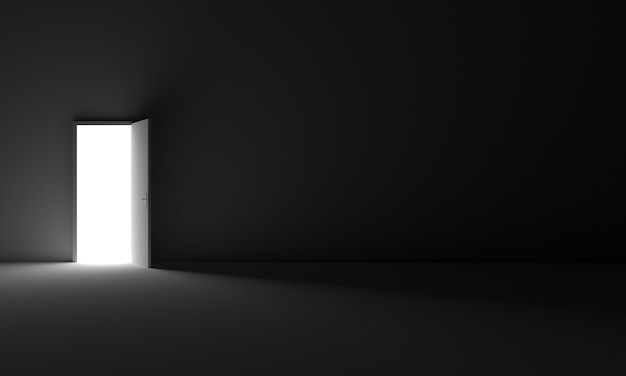 A door that opens from room darkness to light symbol of opportunity freedom exit future hope