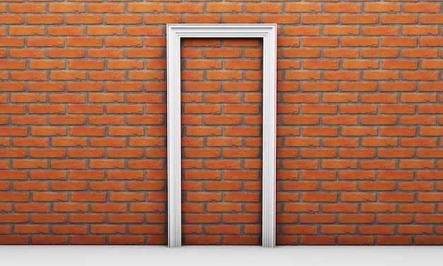 白い部屋のどこにも通じない扉、3dレンダリングから抜け出す方法はありません