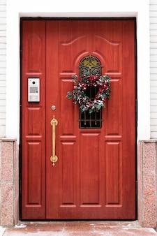 Door with a christmas wreath