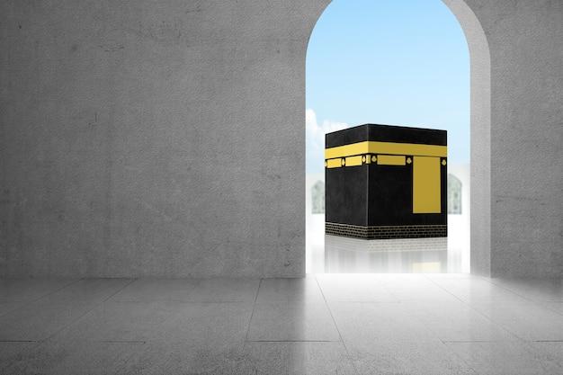 푸른 하늘 배경으로 신성한 kaaba 전망이 있는 문