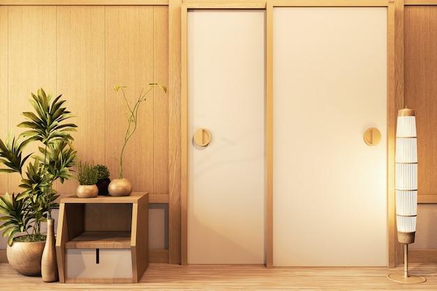 Дверь деревянная и корпусная деревянная на пустой комнате белая на деревянном полу японский дизайн интерьера. 3d рендеринг