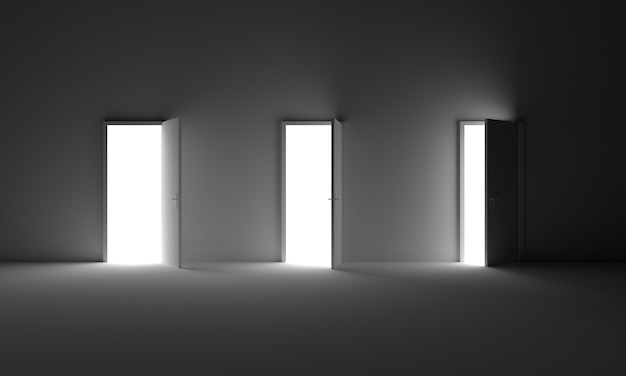 Doors open from room darkness to light opportunityfreedomfuturehope option right choise concept