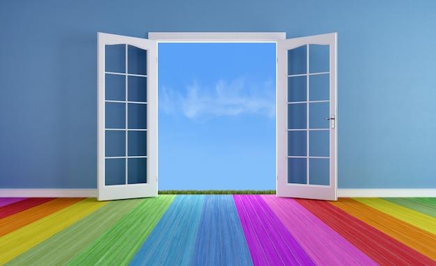 スプリングに開くドア