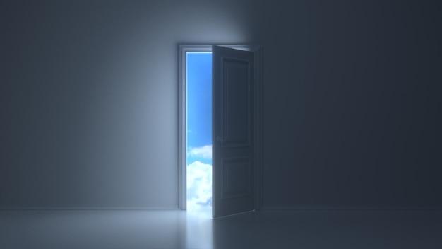 暗い灰色の部屋の美しい空を明らかにするために開くドア
