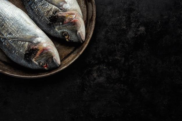 Pesce dorado con ingredienti sul buio