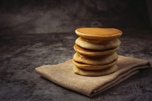 Dorayaki pancakes stuffed with vanilla japanese food.