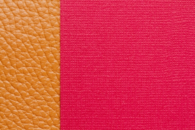 Double background with colored paper and textured leather