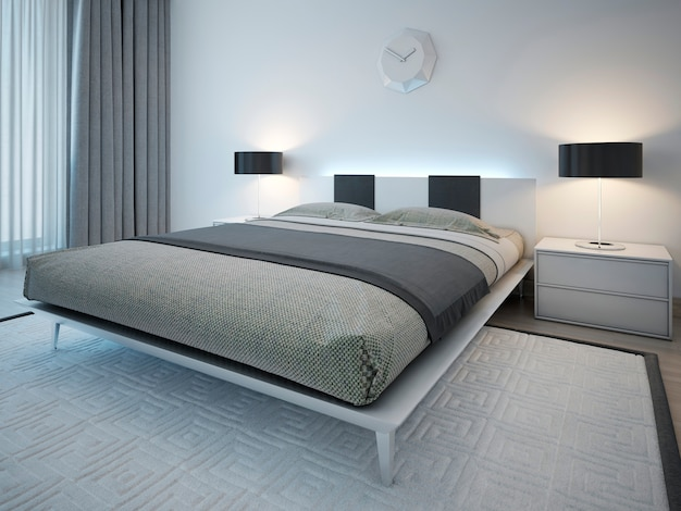 Double bed with bedside table in minimalist style.