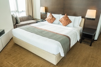 Double bed with cushions