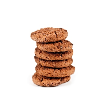 Double chocolate chip cookies stack isolated on white