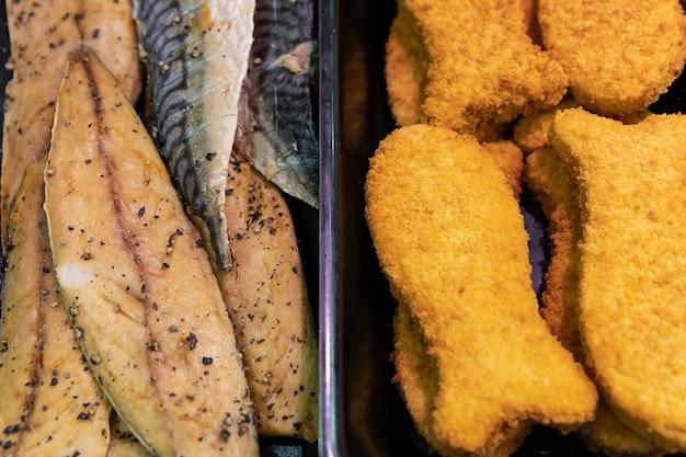 Double choice of mackerel fish and breaded fish