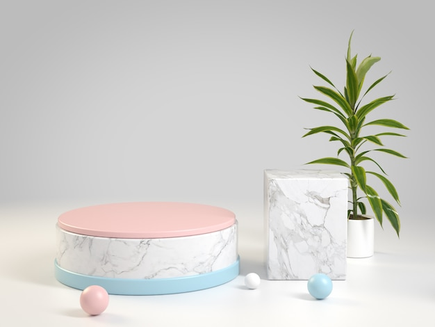 Double clean luxury display platform marble for show product on top with soft pastel color, 3d rendering