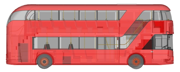 A double-decker bus, a translucent casing under which many interior elements and internal bus parts are visible