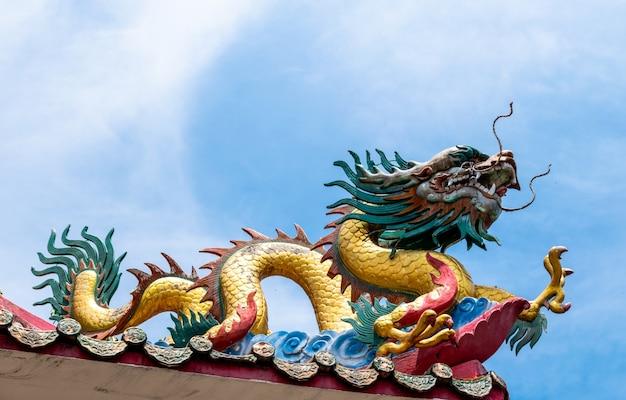 Двойной дракон на крыше китайского храма