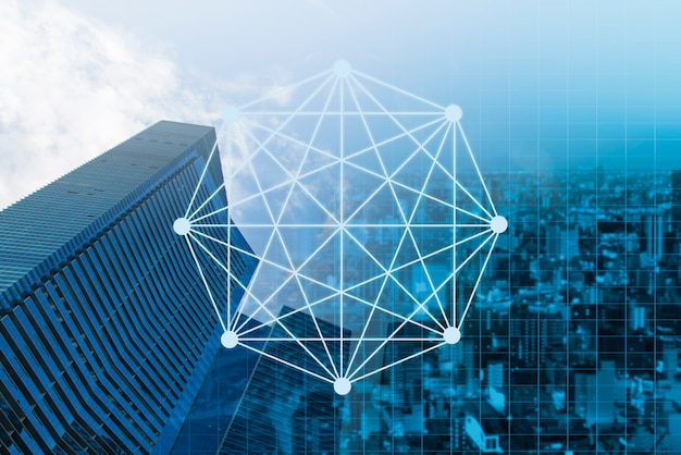 Double exposure business network on trading graph and city