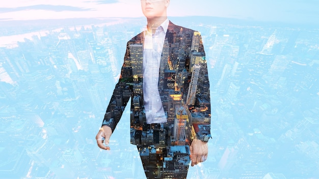 Double exposure of businessman with city background