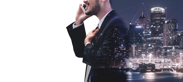 Double exposure image of business communication