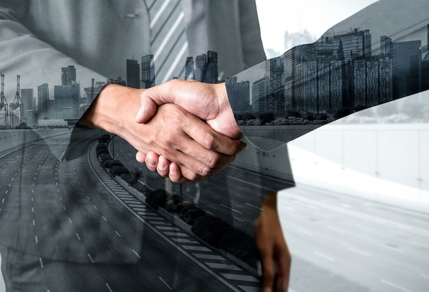 Double exposure image of business and finance