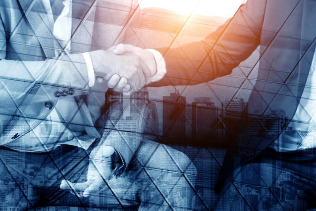 Double exposure image of business people abstract
