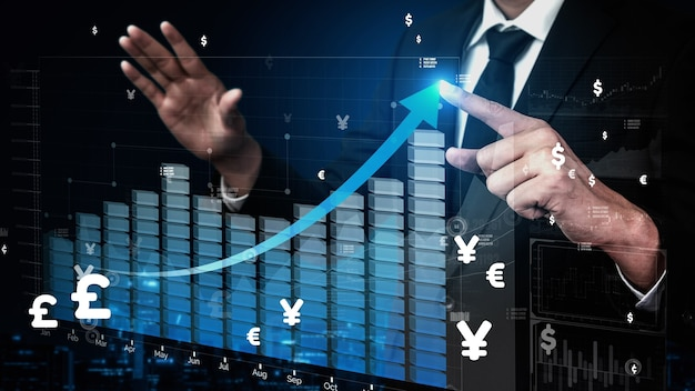 Double exposure image of business profit growth conceptual
