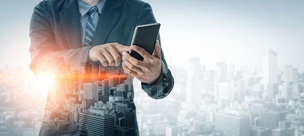 ビジネスコミュニケーションの二重露出画像