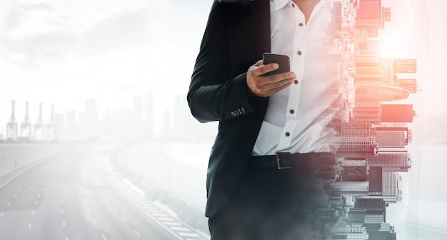 Изображение деловой коммуникации с двойной экспозицией