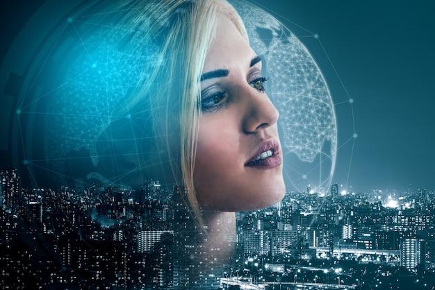 現代の都市の背景にビジネスパーソンの二重露光画像