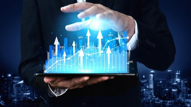 Изображение роста прибыли бизнеса с двойной экспозицией