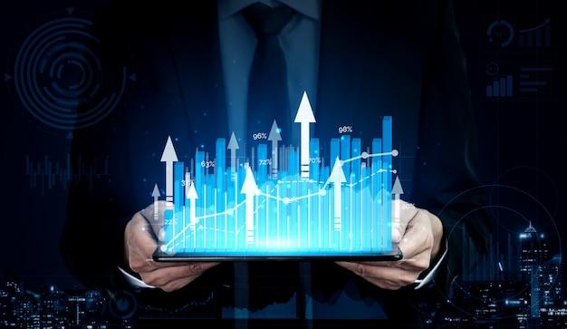 비즈니스 이익 성장의 이중 노출 이미지