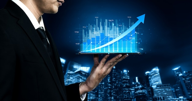 Изображение двойной экспозиции роста прибыли бизнеса