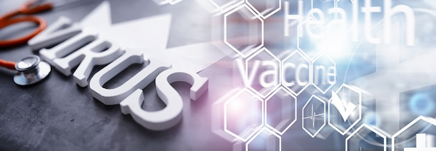 이중 노출. 의료 배경입니다. 코로나바이러스 나무 글자. 세계에서 가장 치명적인 전염병 바이러스의 배경. 바이러스 백신.