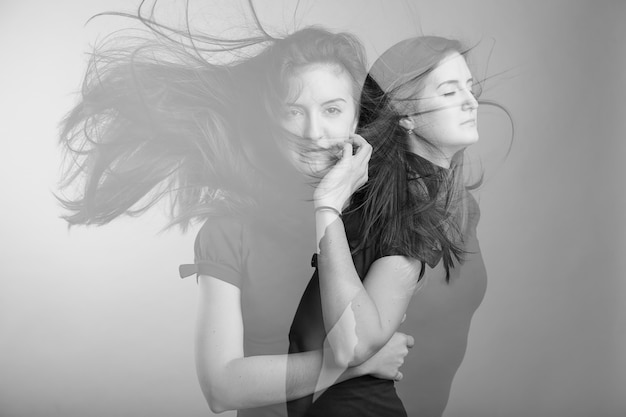 Double exposure of young female
