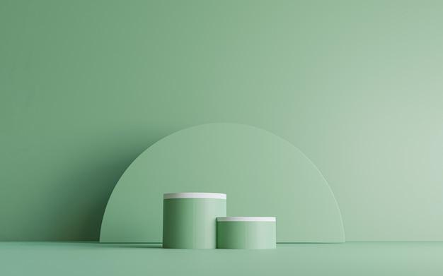 3d 렌더링 기술에 의한 생태 제품 스테이지 디스플레이를 위해 녹색 배경에 최소한의 흰색 원형 벽 디자인이 있는 이중 녹색 실린더 연단.