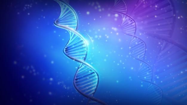 Double helix dna strands on blue background d render