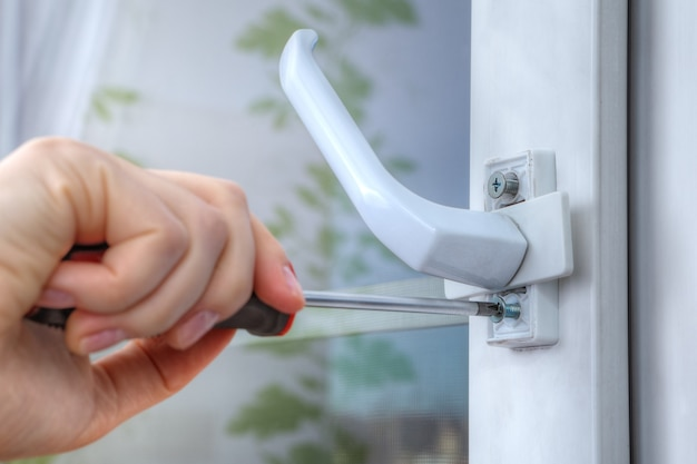 On double hung window dismantle handle to supply restrictor that adjusts width of opening