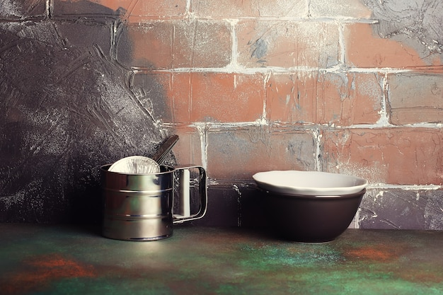 Double kitchen background rustic brick wall grunge