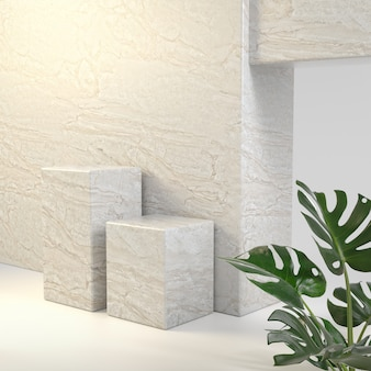 Double mockup stone platforms background for show products with plant 3d render