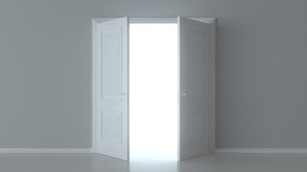 Двойная открытая белая дверь на белой стене
