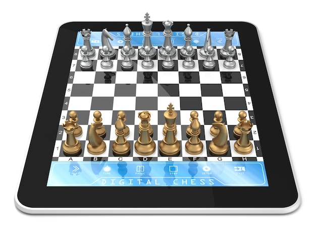 Double player chess game on digitaltablet with three dimensional chess pieces.