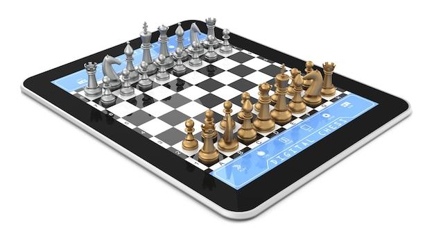 Двойная игра в шахматы на цифровом планшете с трехмерными шахматными фигурами.
