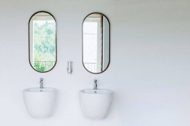 2つの鏡が付いている白い壁の二重流し
