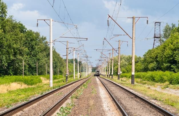 Double-track electrified railway line in ukraine