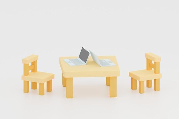 책상 3d 그림에 노트북 컴퓨터가 있는 가정에서 작업하는 더블 나무 의자와 테이블